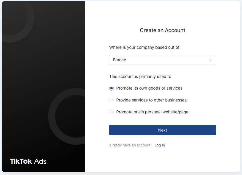 formulaire publicité tiktok ads