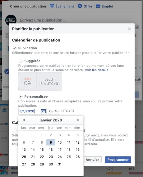 choix date programmation page Facebook