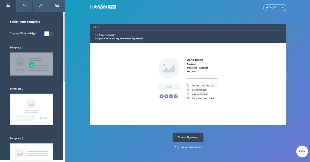 générateur signatures email hubspot