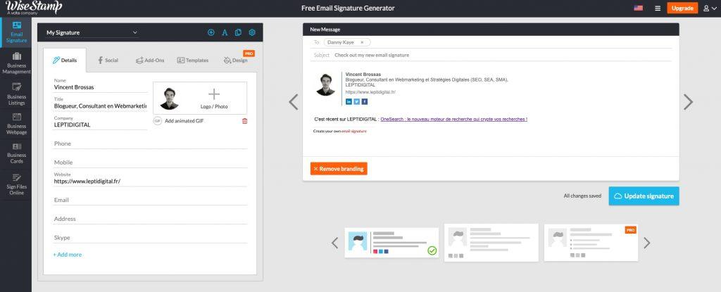 générateur signatures email WiseStamp