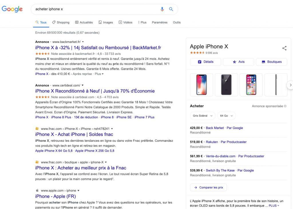 google requete commerciale
