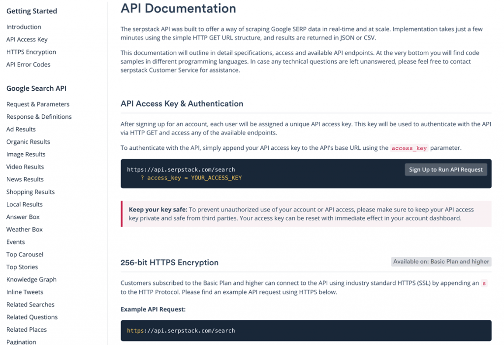 documentation api serpstack