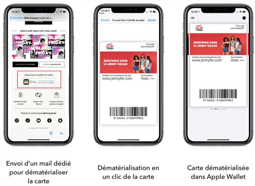 Dématérialisation de la carte Don't Call Me Jennyfer dans Apple Pay