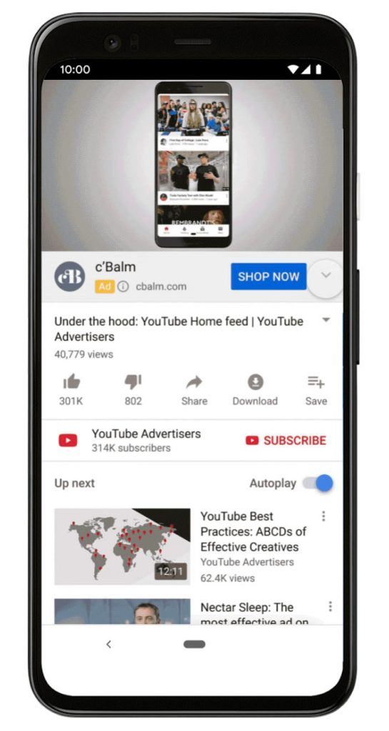 youtube trueview action shopping ads