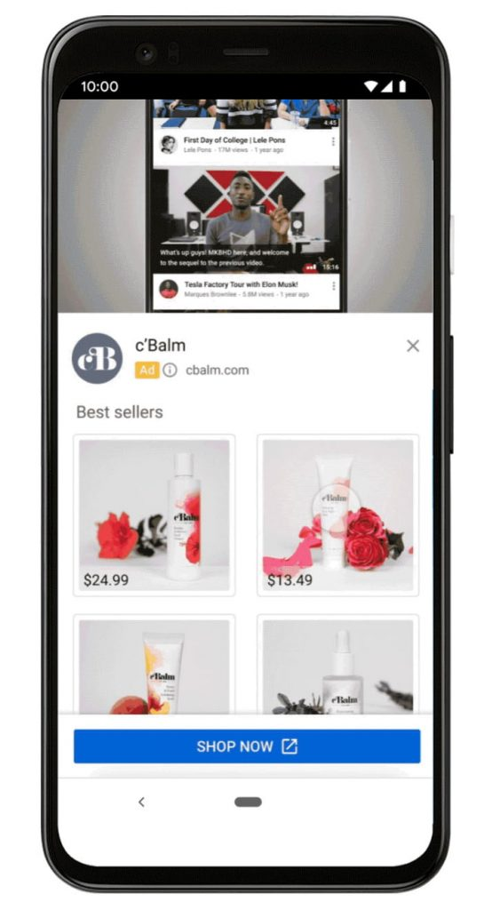 youtube trueview shopping ads