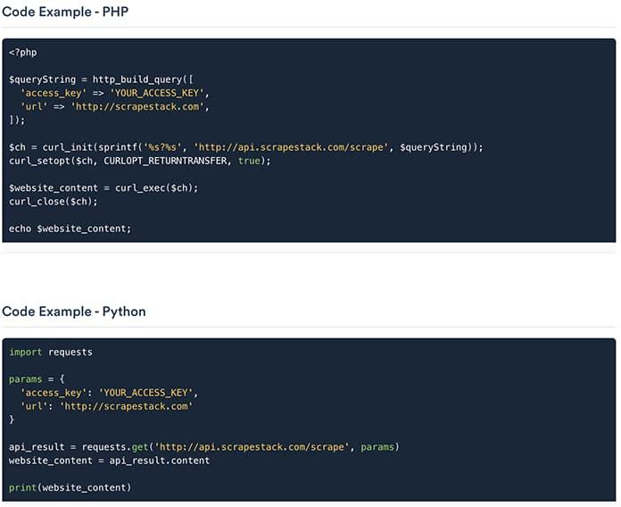 exemple code scrapestack