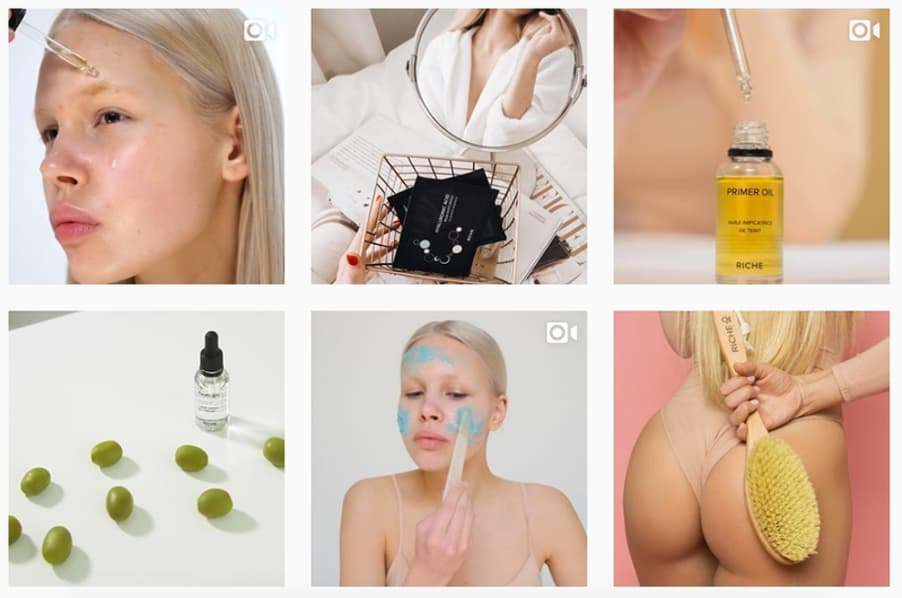 exemple grid instagram cosmetique