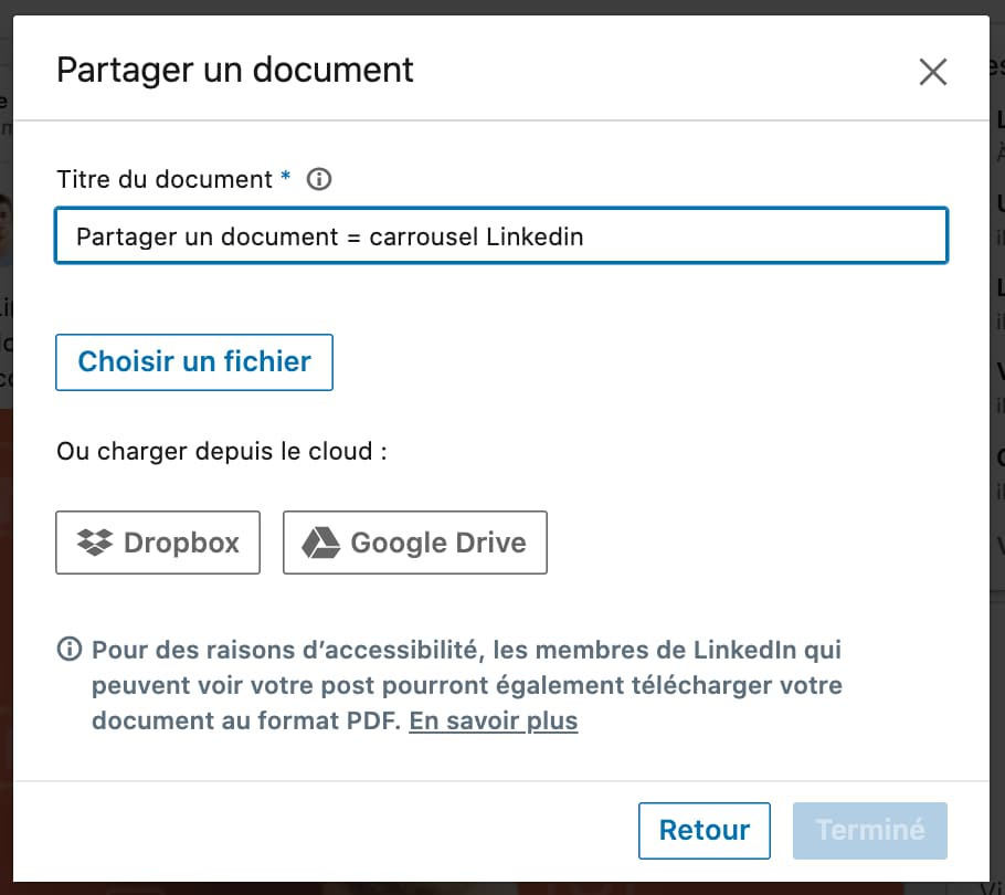 partager document linkedin carrousel