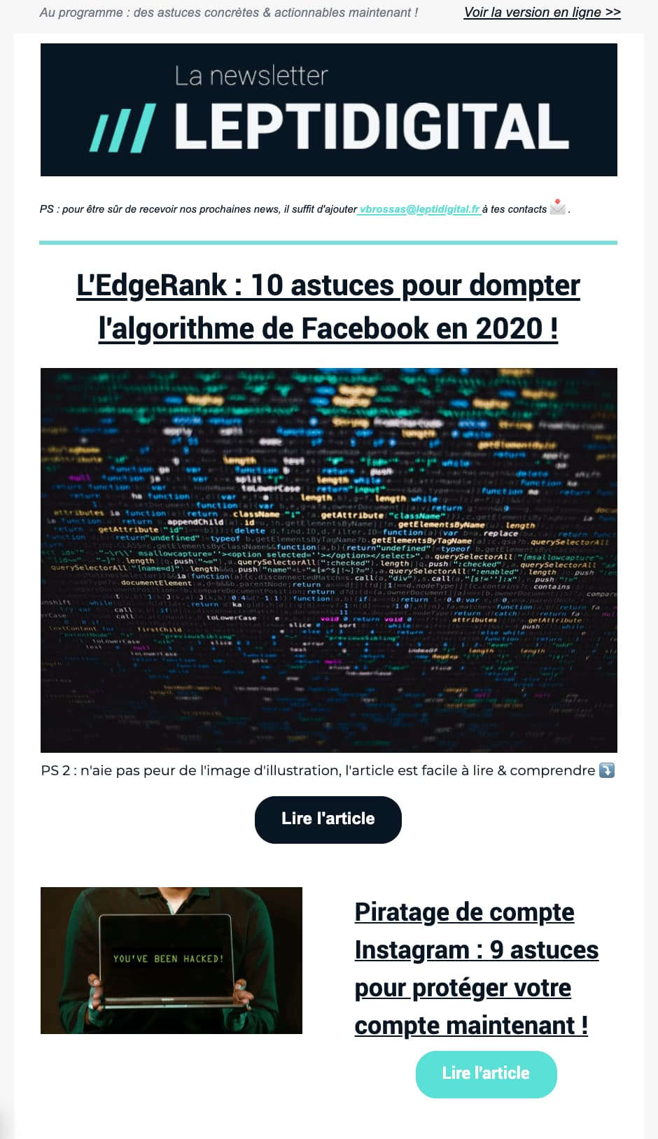 newsletter marketing digital webmarketing SEO social media growth hacking emailing et e-commerce leptidigital