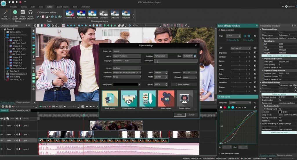 VSDC Video Editor Free montage video