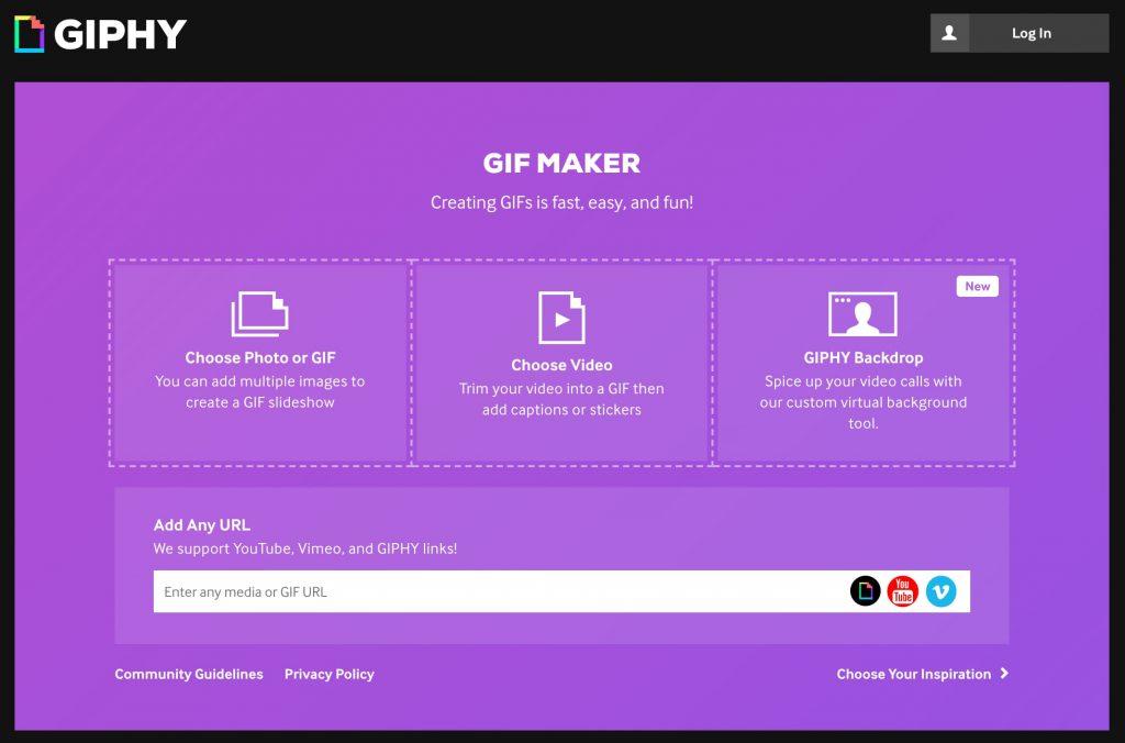 créer gif en ligne Giphy