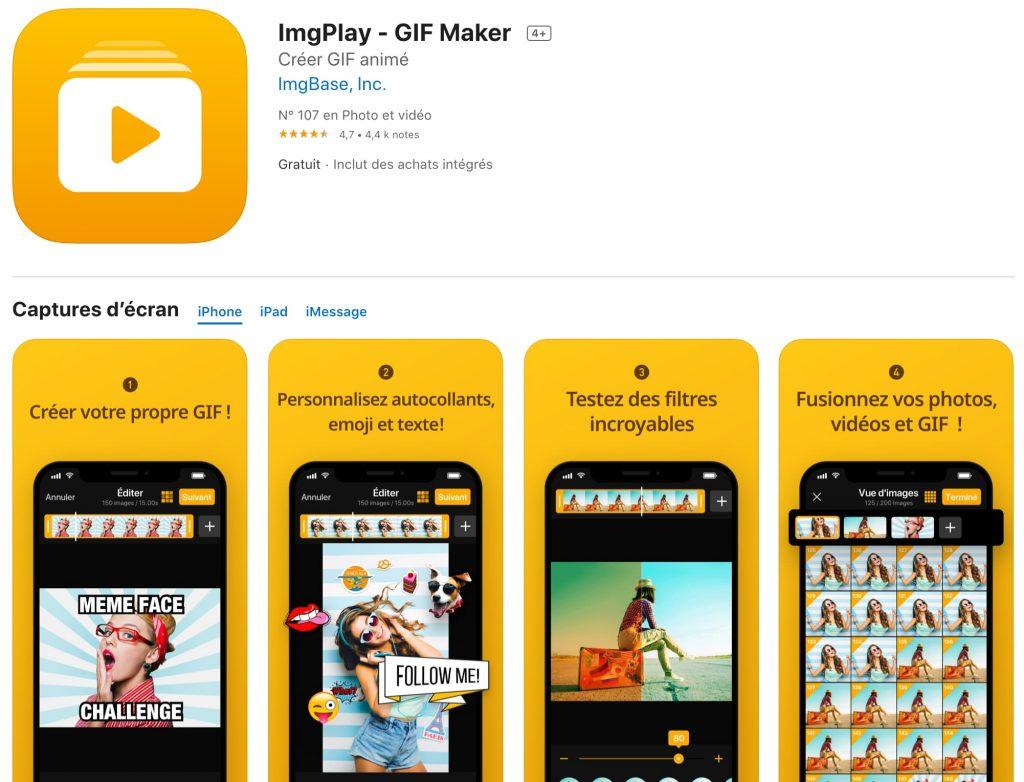 imgplay créer gif application