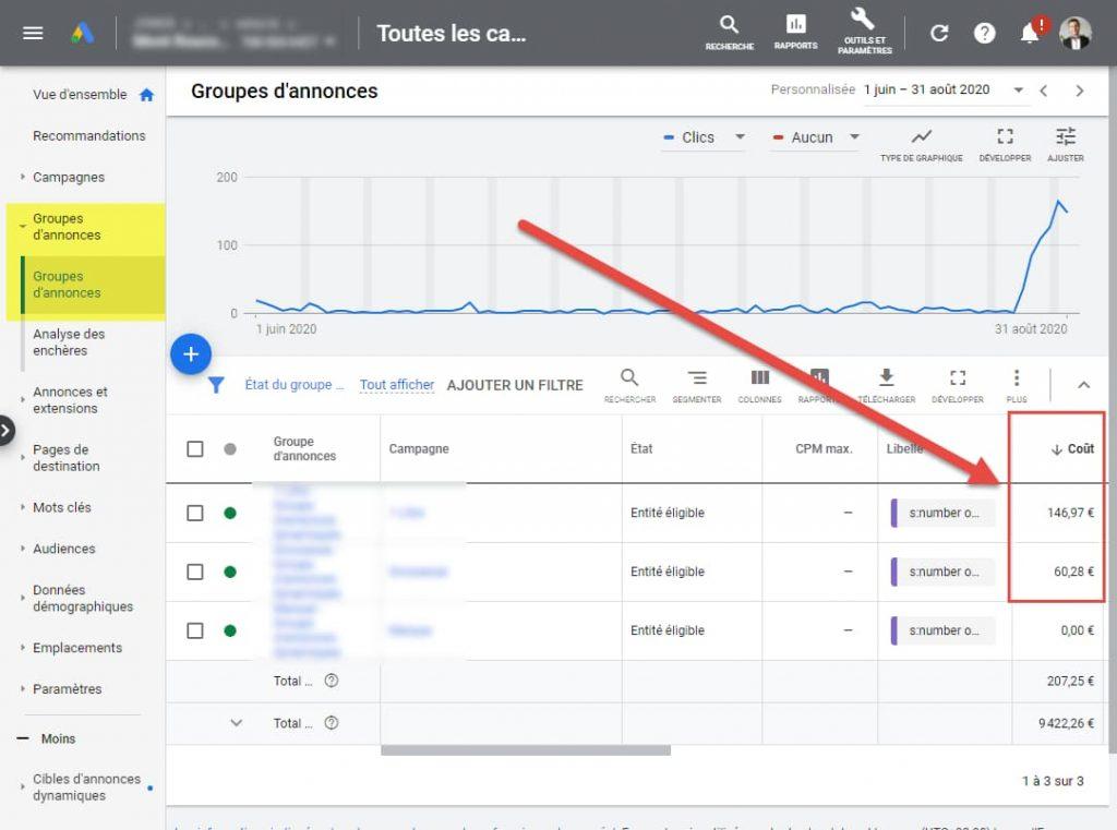 configuration libellés google ads groupes annonces