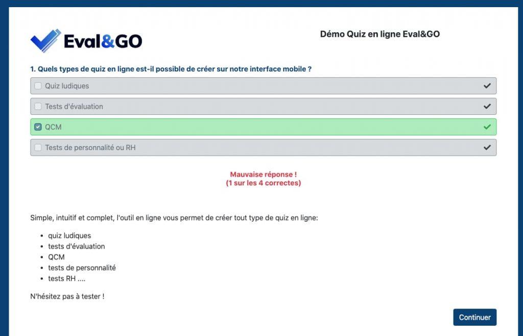 Exemple correction d'un quiz créé avec eval&GO