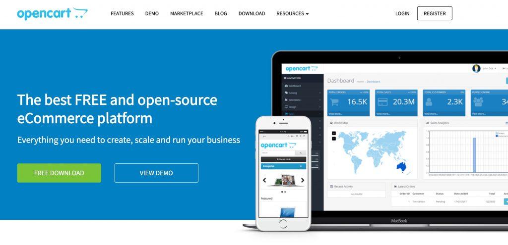 opencart CMS e-commerce