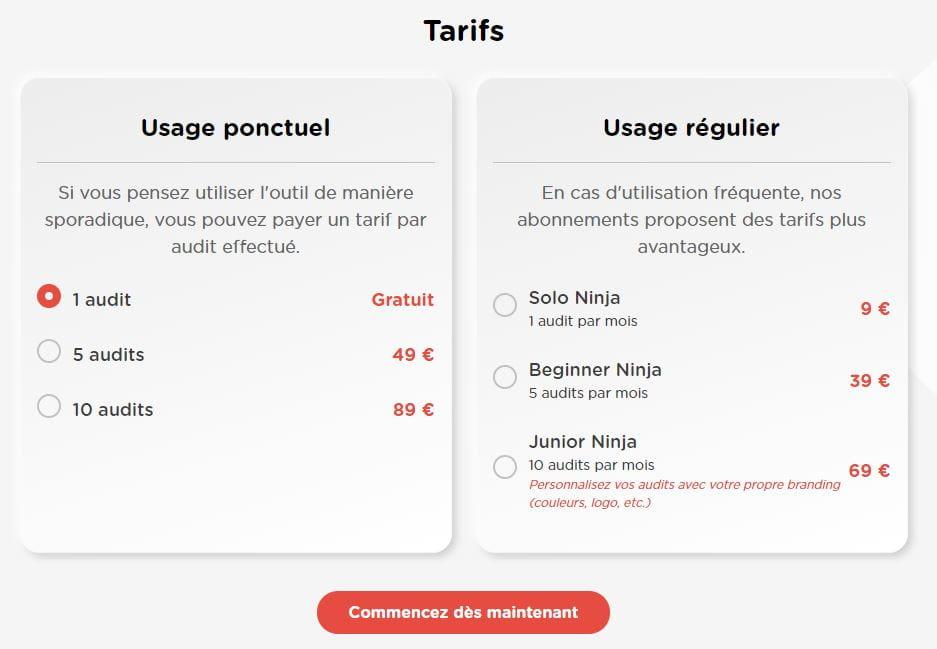 Prix Audit.Ninja, solution d'audit automatique de campagnes google ads