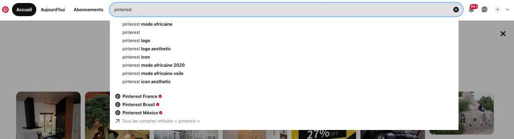 suggestions recherche pinterest seo