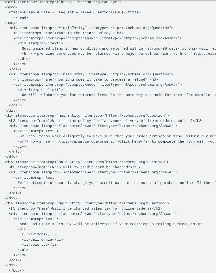 exemple code faq seo micro données
