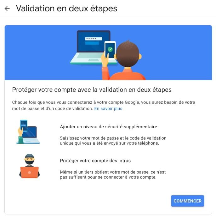 validation deux étapes connexion compte google