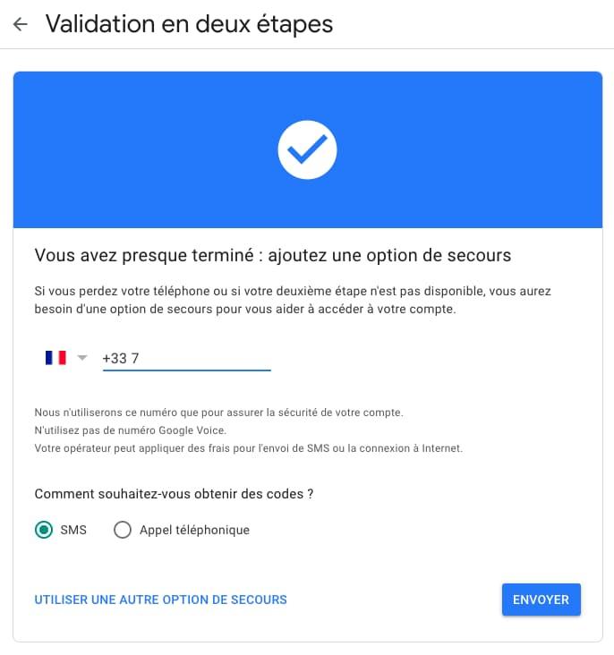 validation numéro téléphone sécurisation compte google