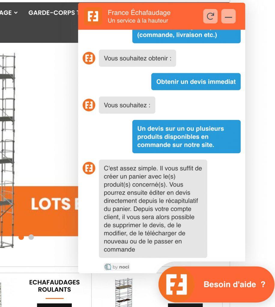 chatbot e-commerce noci france echafaudage