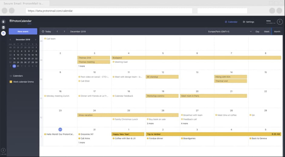 calendrier protonmail