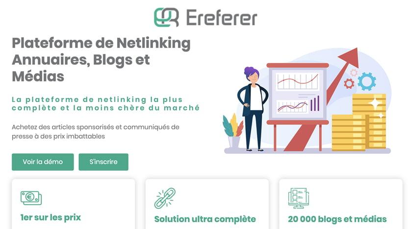 Ereferer : une plateforme de netlinking complète, Française et abordable