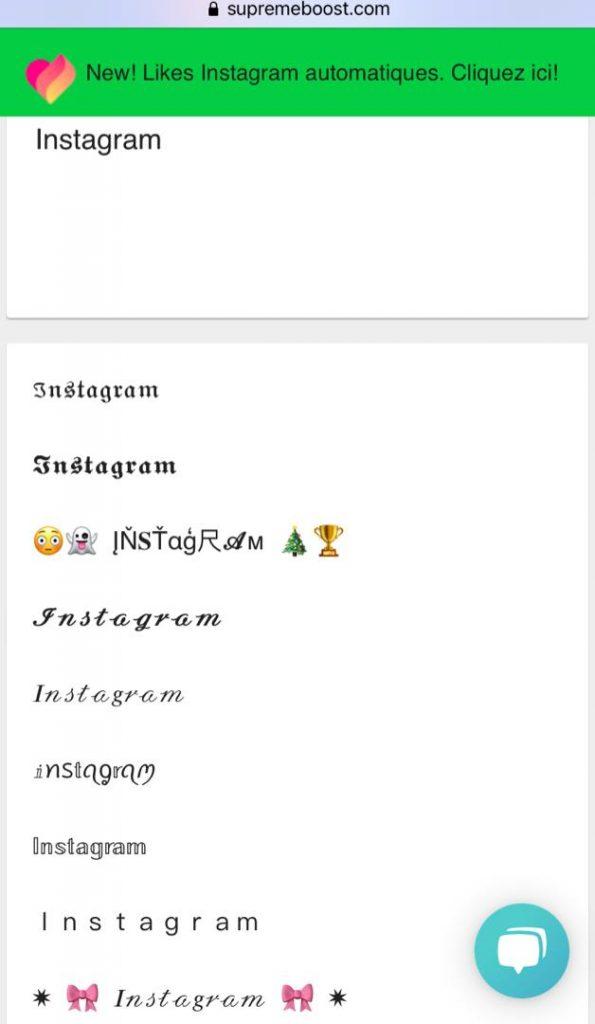 outil changer police instagram Supremeboost