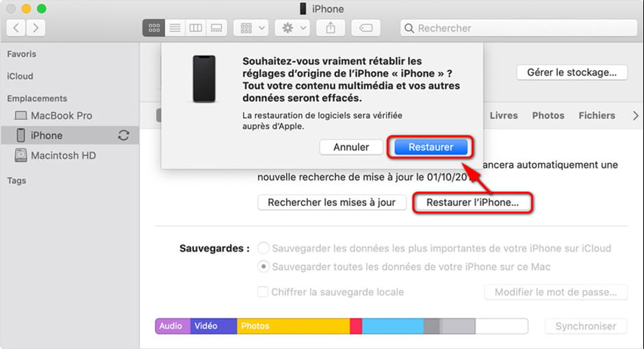 restaurer iphone itunes