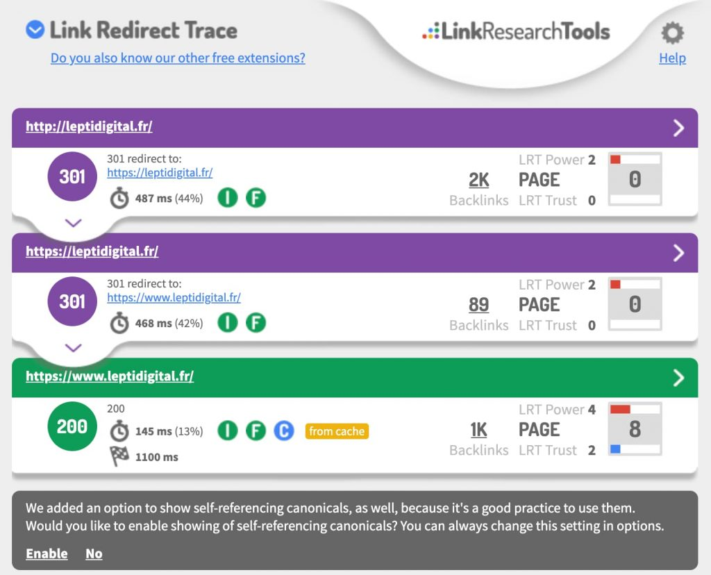 extension chrome seo link redirect trace