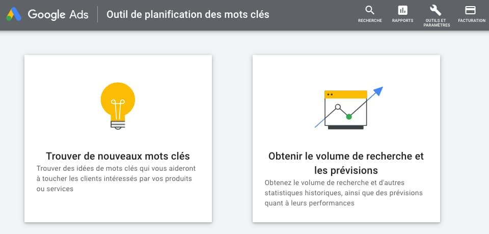 google ads keyword planner outil seo gratuit