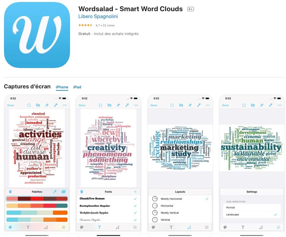 wordsalad créer nuage de mots iPhone