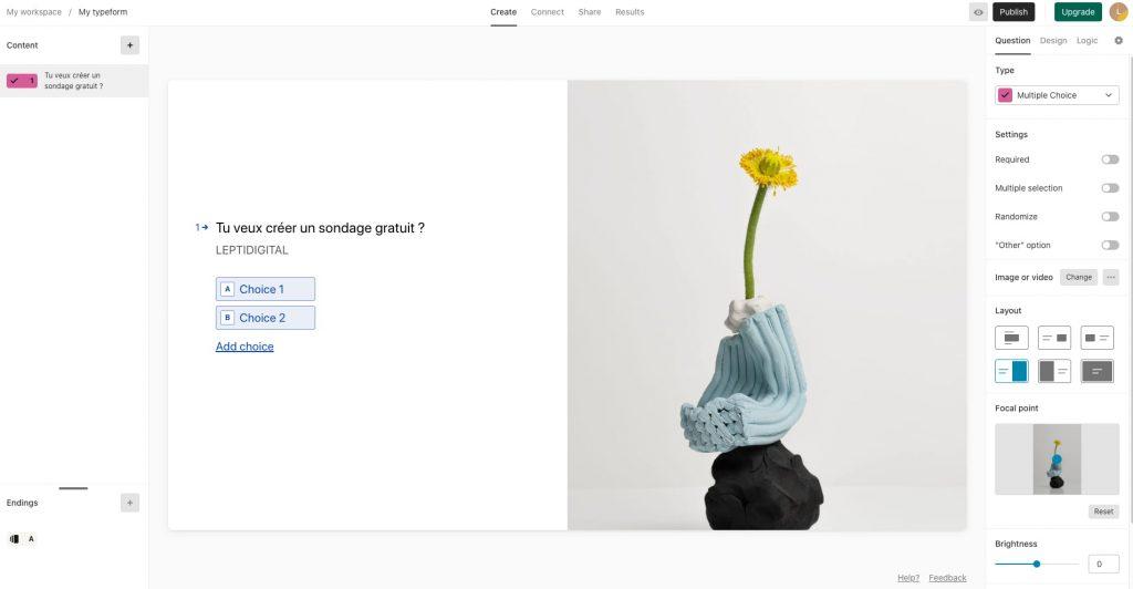 créer questionnaire gratuit Typeform