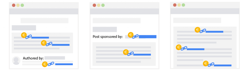 Exemple de liens sponsorisés concernés par la link spam update de Google