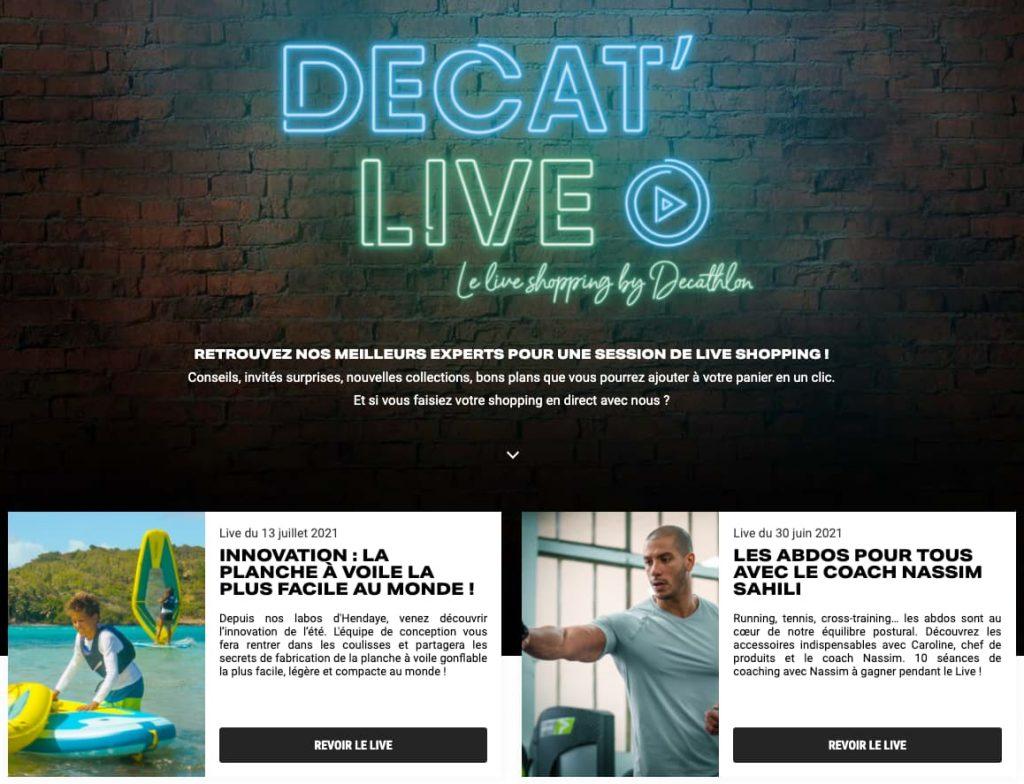 live shopping decathlon