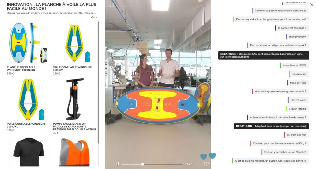 live shopping exemple decathlon