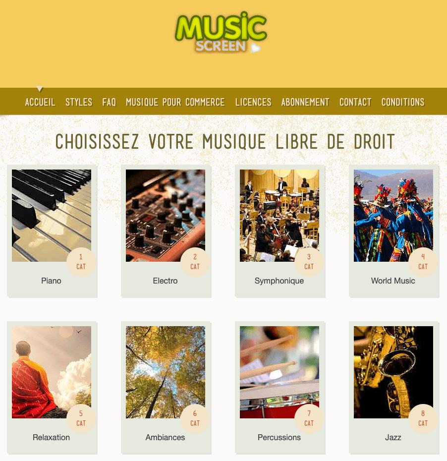 music screen be libres de droits