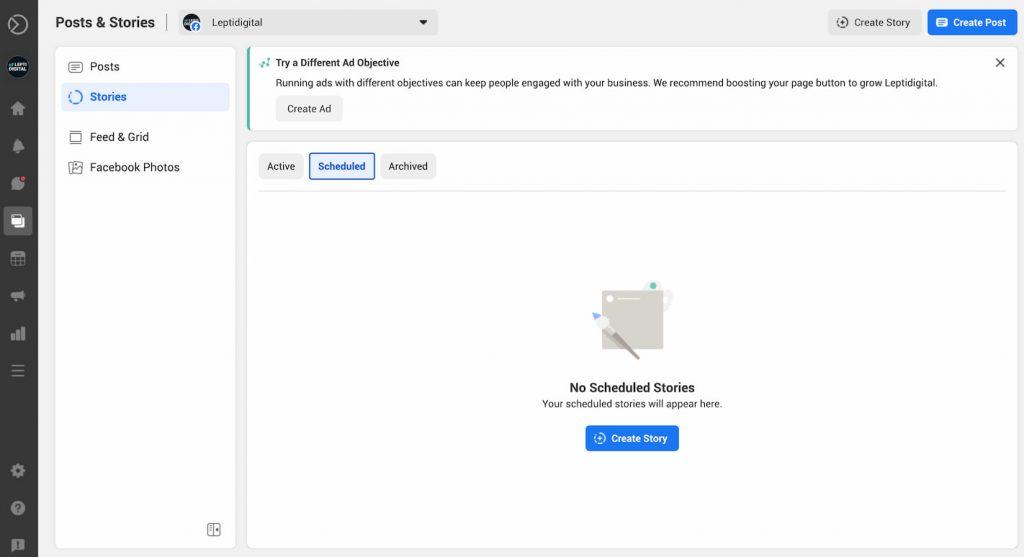 planifier stories facebook business suite