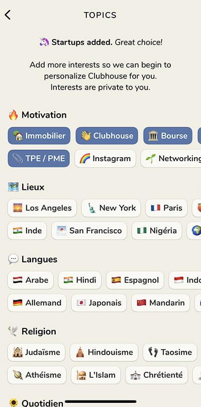 choix sujets clubhouse app