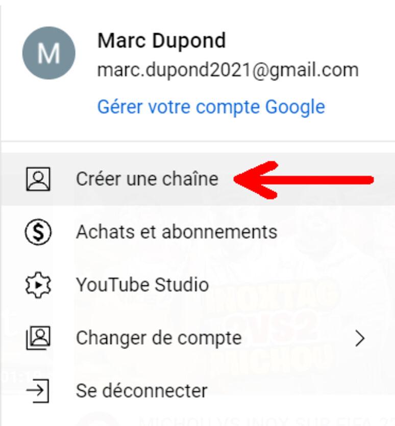 Créer un compte YouTube sur ordinateur étape 1