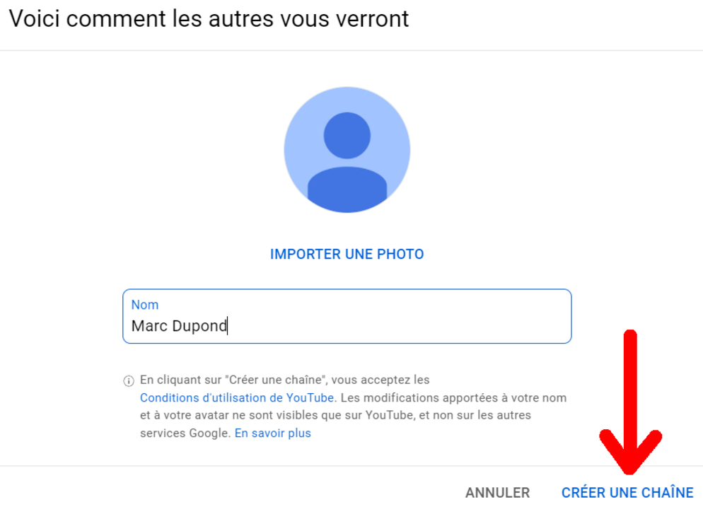 Créer un compte YouTube sur ordinateur étape 2