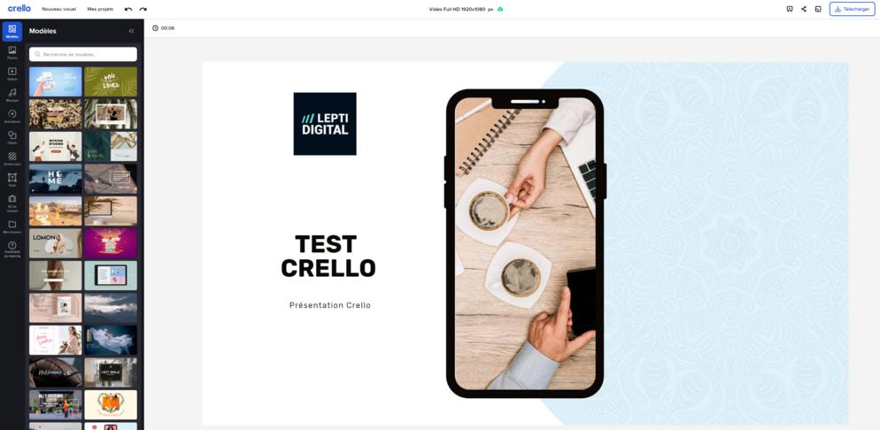Aperçu de l'outil de création de Crello