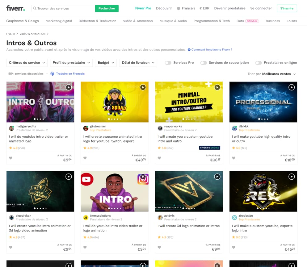 """Aperçu du site Fiverr dans la section """"Intros & Outros"""""""