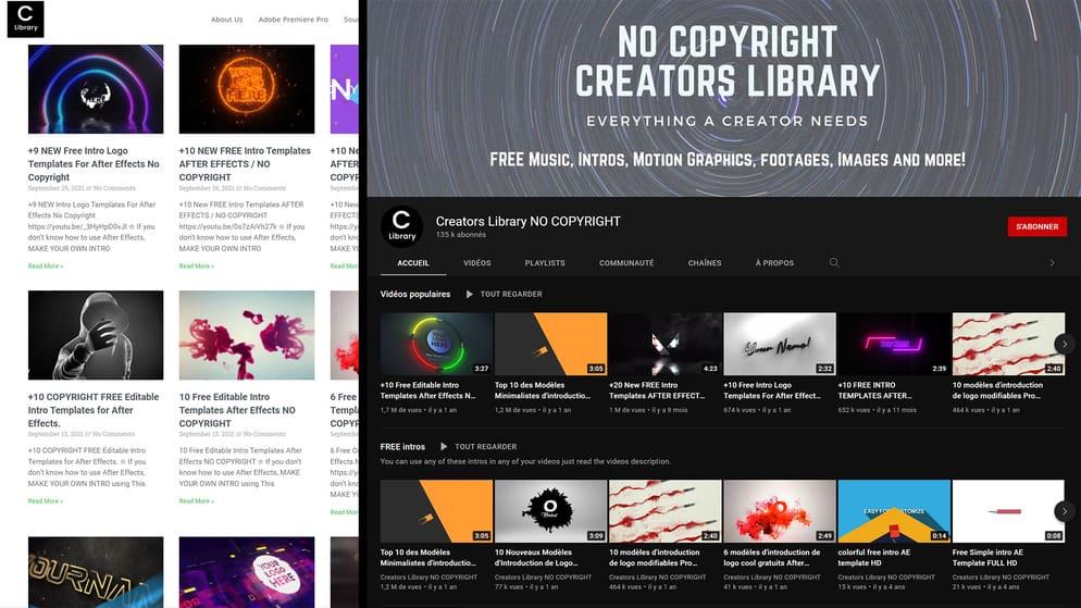 Aperçu du site et de la chaîne YouTube Creators Library NO COPYRIGHT